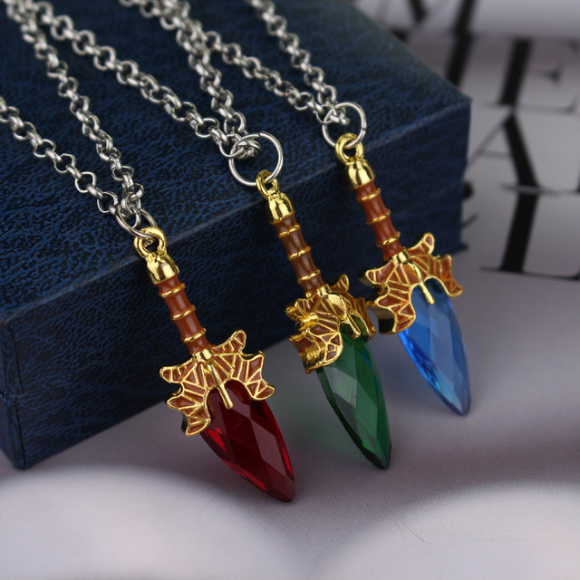 Online shop 3 colors final fantasy necklace heart gem with sword 3 colors final fantasy necklace heart gem with sword animation game final fantasy 13 pendant necklace wholesale and retail mozeypictures Image collections