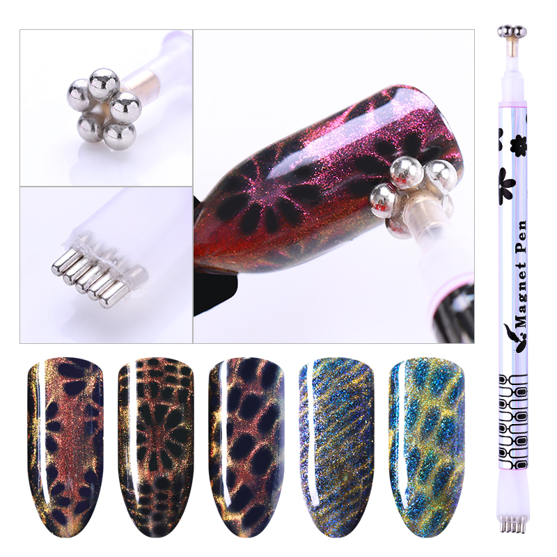 1 Pc Dual-ended Cat Eye Flower Magnet Stick Pen Stripe Grid Pattern For DIY 3D Magnetic UV Gel Polish Manicure Nail Art Stick