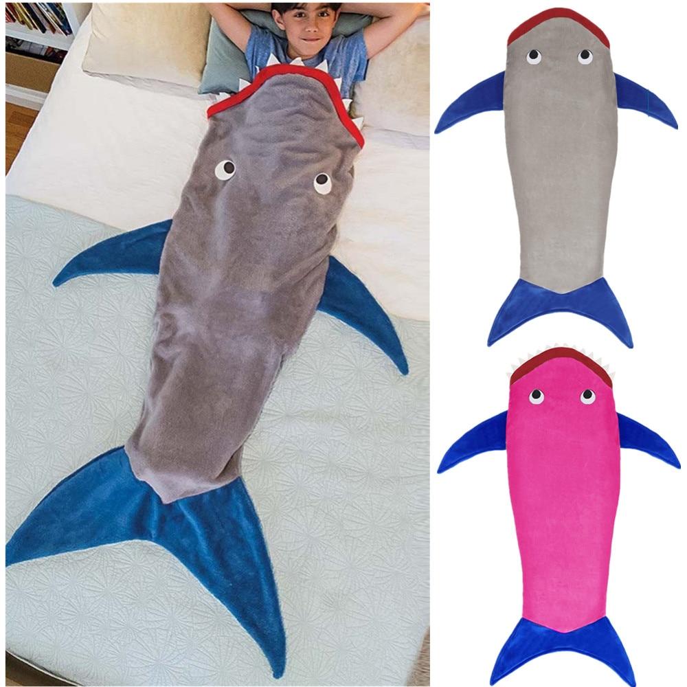 Brand Fashion Cartoon Child Shark Blanket Kids&Adult Sleeping Bag Fleece Sleeping Bag Boys&Girls Blanket Sleepers Slapwear Robe ...