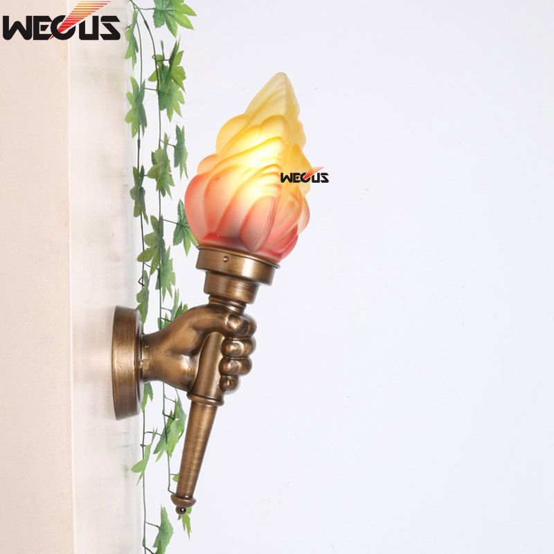 Imitation copper torch wall lamp creative left right hand wall imitation copper torch wall lamp creative left right hand wall lamp in led indoor wall lamps from lights lighting on aliexpress alibaba group aloadofball Images