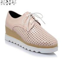 Patent Leather-based 2017 Ladies's Flat Footwear Breathable British Loafers Sq. Platform White Informal Footwear Zapatos Mujer Huge Measurement 2/30