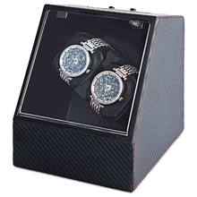 Watch Winder Carbon Fiber Auto Silent Transparent Cover Wristwatch Box with EU Plug