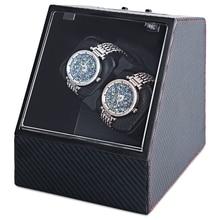 Auto de Fibra de carbono Silent Enrollador de Reloj Forma Irregular Transparente Cubierta de la Caja de Reloj con Enchufe de LA UE