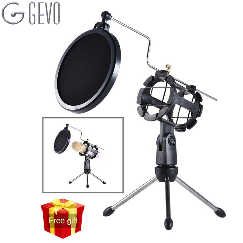 GEVO Tripod For Microphone pop Filter The Mic Holder Accessories Shock Mount Protection Of The Tesktop Microphones Stand new 5pcs 5 color plastic mic microphone anti rolling protection ring wireless slip holder stand roller accessories free shipping