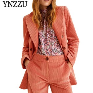 2019 New Spring Elegant Corduroy Blazer Coat Solid Office Lady Double Breasted Long Sleeve Women Blazers and Jackets Coat A0877