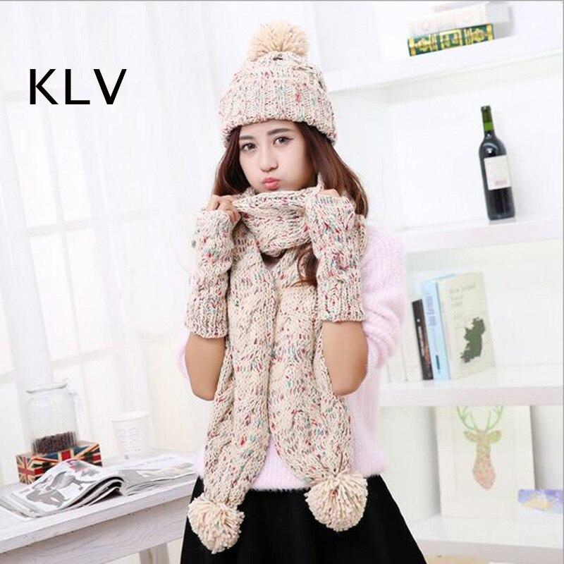 Casquette tricoté écharpe chapeau ensemble torsadé femmes chapeaux mode solide Gorros Pompon femme bonnets Toucas fille gants hiver extérieur chaud