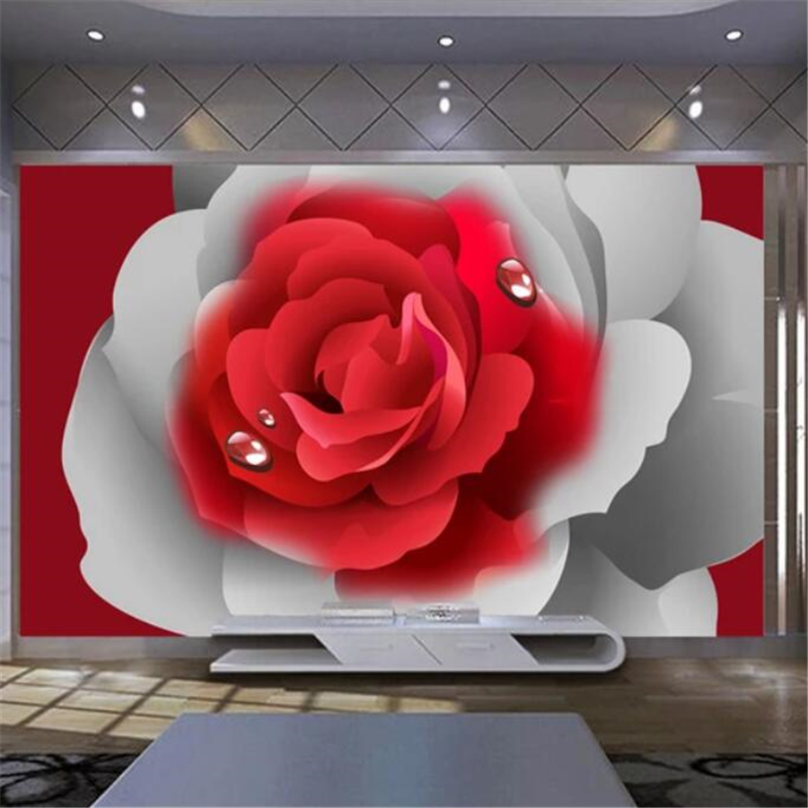 Beibehang Custom Wallpaper 3d Mural Romantic Red Rose Tv Background