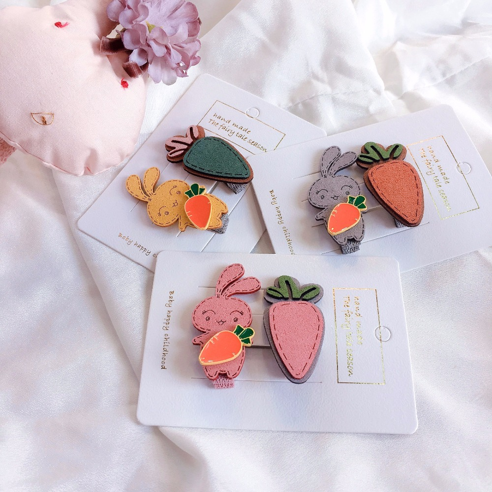 Korea Handmade Fabric Cartoon Carrot Rabbit Cute Hairpins Hair Clips Children Girl Kids Head Wear Set Accessories-swkhws102c5 High Resilience