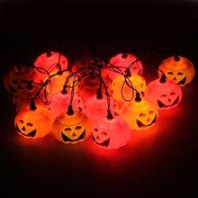16 Mini Garlands Orange Lights Pumpkin For Halloween Decor