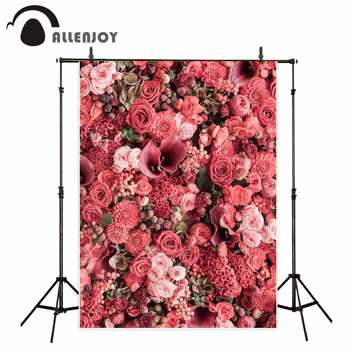Allenjoy wedding pink red floral flowers photography background romantic multiple baby birthday party custom photo backdrops