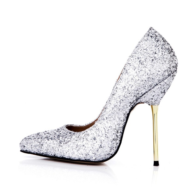 new arrival fashion sequined fall women single shoes bling bling slip on pumps  party wedding ladies office shoes sexy high heels c0ce123c7e2b
