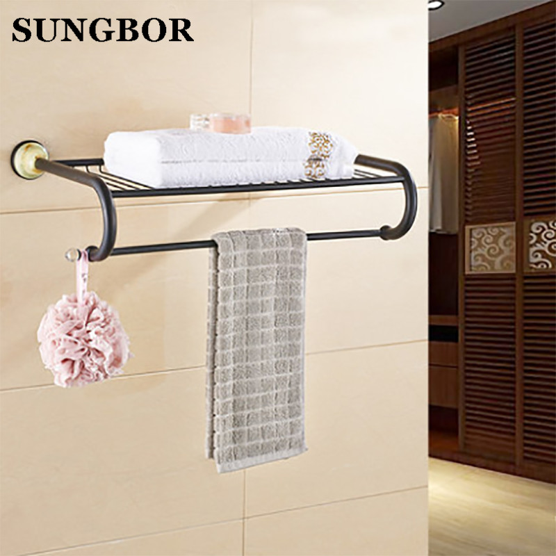 Black Towel Racks European Style Wall Mount Brass Luxury Gold Plated Jade Bathroom Towel Holder/Bars Bathroom Accessories 95812H original gteng cw motor