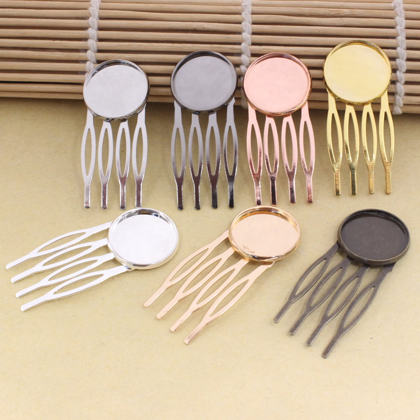 Fit 20mm Copper Comb Hairpins Blank Cabochon Settings Hair Clips Accessories 22x52mm 7pcs/lot K05467