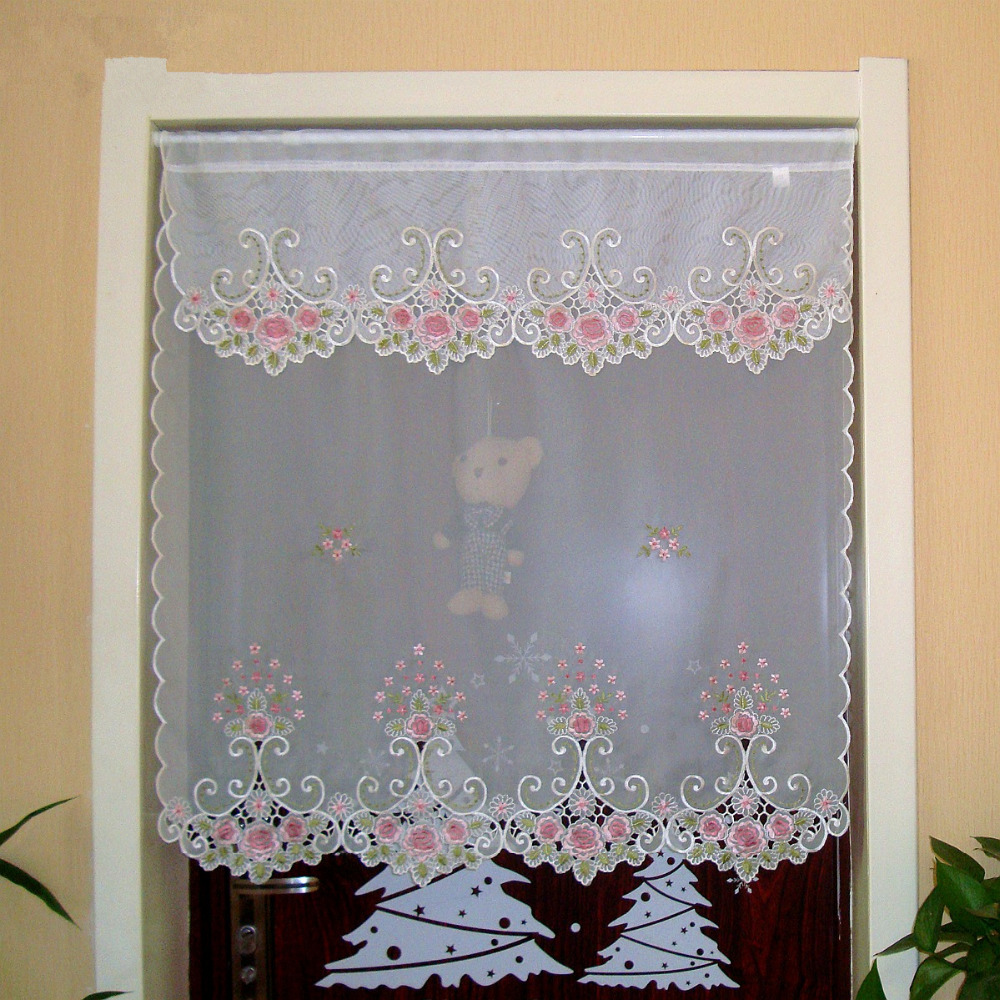 Kitchen Partition Curtains: Half Curtain Embroidered Valance Partition Fashion
