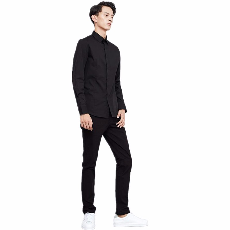10.1 Men\'s shirts new hot sale slim fit leisure long-sleeved black men party dress shirt with high quality custom