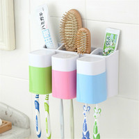 Plastic Dust proof Toothbrush Holder Bathroom Kitchen Family Toothbrush Suction Cups Holder Wall Stand Hook 6 Racks