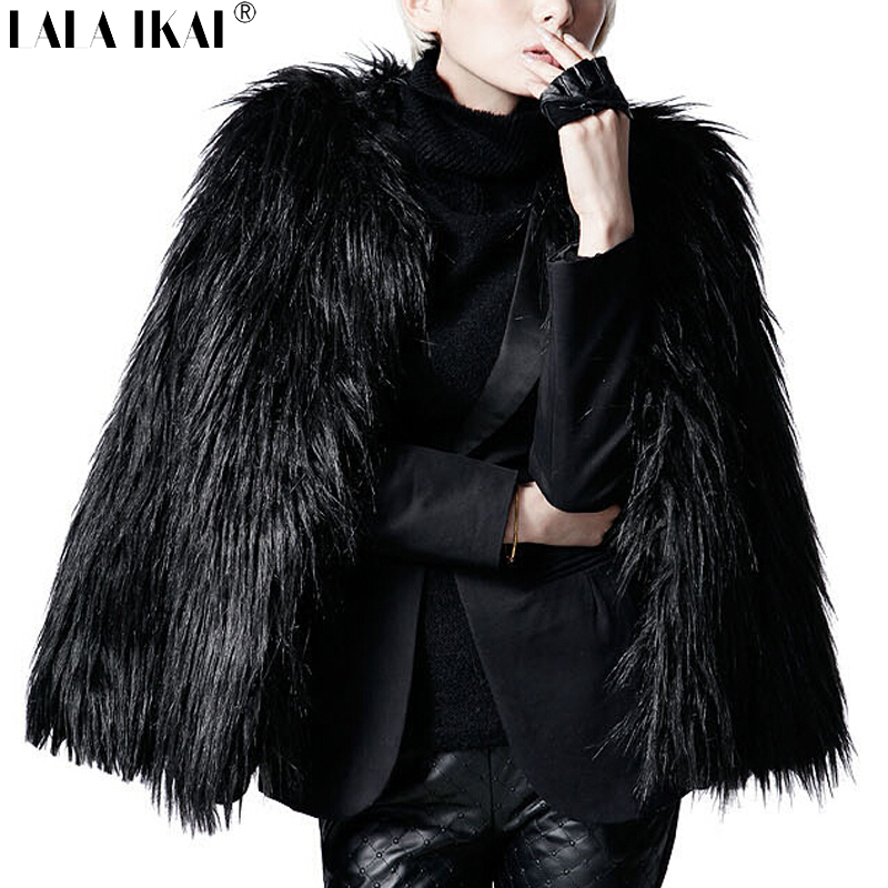 LALA IKAI Women Winter Black Fur Coat Long Sleeve Faux Fur ...