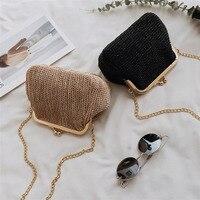 LJL-маленькие богемные сумки через плечо для женщин вечерние клатчи сумки с пряжкой дамская сумочка женская Соломенная пляжная ротанговая ж...
