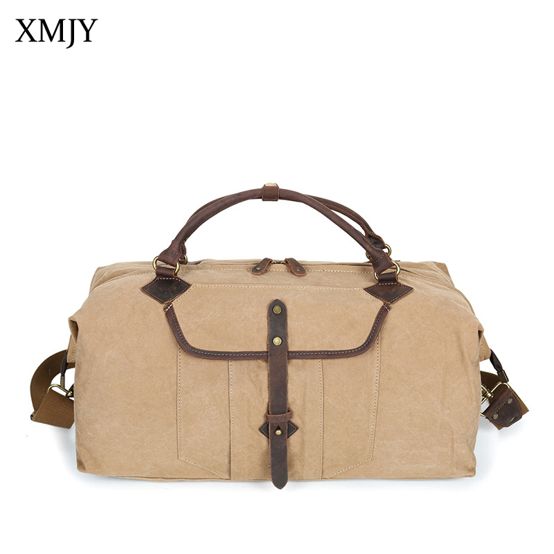 XMJY Oversized Washed Canvas Travel Bags Men Cowhide Leather Carry On Luggage Bags Large Duffel Tote Weekend Overnight Bag augur new canvas leather carry on luggage bags men travel bags men travel tote large capacity weekend bag overnight duffel bags