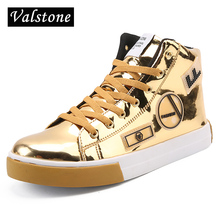 Valstone 2017 NEW Men Casual Leather shoes Gold fashion sneakers microfiber high tops Male Vulcanized shoes silver sizes 39-46