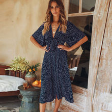hirigin Fashion Women Half Sleeve Chiffon Polka Dot Bohemian Dress Summer V Neck Beach Party Boho Dress Sundress Vestidos