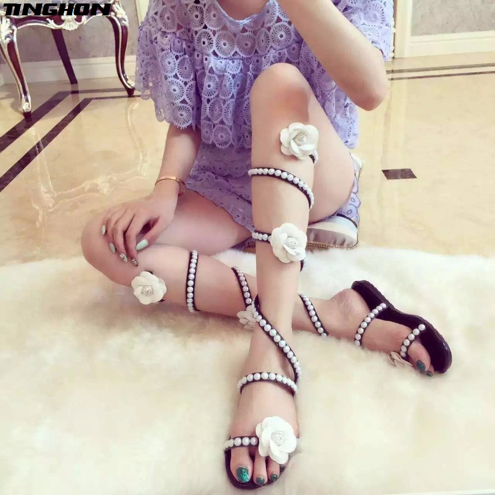 TINGHON Women Summer Shoes Flat Wedge Sandals High Heels Snake Strap Open Toe Pearl Flowers Women Gladiator Sandals Sexy Shoes