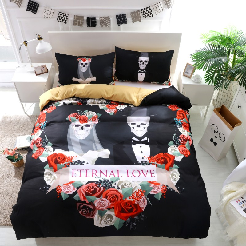 3D Flowers Wedding Skull Bedding Sets King Duvet Cover With Pillow Case Europe Style Sugar Skull Bed Linen Queen Size Bed