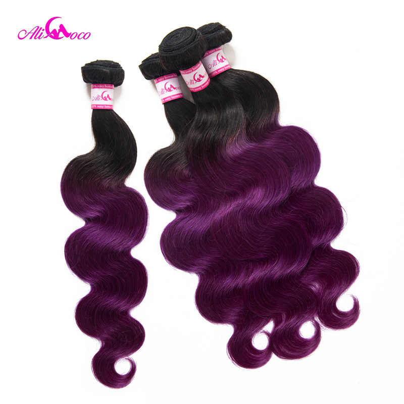 Paquete de 3 ondas de cuerpo de Ali Coco con cierre 1B/paquetes de pelo brasileño de Color púrpura con cierre 8-28 extensión de cabello Remy de pulgadas