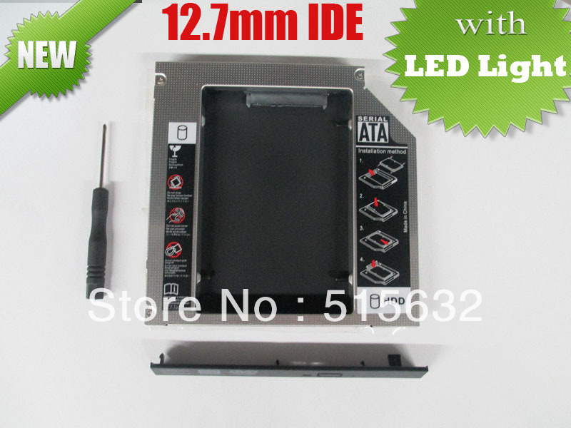 цена на 2013 new high quality IDE to SATA Hard Drive Caddy to Optical CD Bay Adapter 12.7mm universal 2nd HDD Caddy with LED light