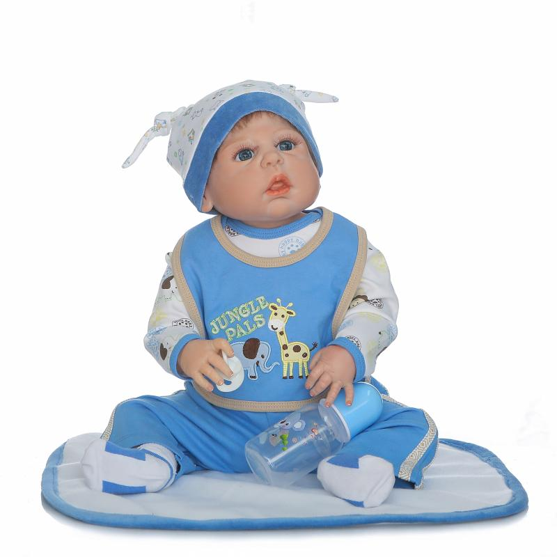 New Reborn Baby Boy Dolls 22 Full Vinyl Body Doll 55cm Lifelike Reborn Doll in Blue Clothes for Girls XMAS Birthday Gifts Toys 22 inch silicone dolls reborn boy 55cm full body realistic reborn baby doll bathed doll toy in soft blue clothes birthday gifts