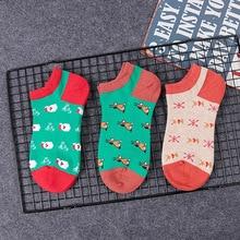 1 pair Christmas day style socks Animal Patterned Women Short Socks Cartoon Cotton Ankle Breathable Female Harajuku Cool Sox