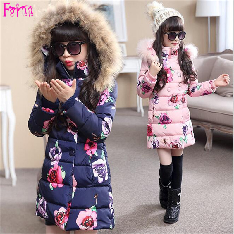 Kids Children's Clothing Outerwear Down Parkas Children Coat Baby Winter Girls Jackets Full Flawers X-Long Hoodie Children Park