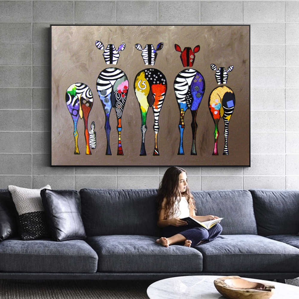 Abstract Zebra Canvas Art Paintings On The Wall Colorful Animals Art Prints African Animals Art Pictures For Living Room Wall