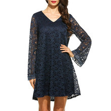 Womdee Green Plus Size Flare Sleeve Lace Dress Women Sexy V-Neck Evening Party dress Summer Spring Vintage mini Dresses female
