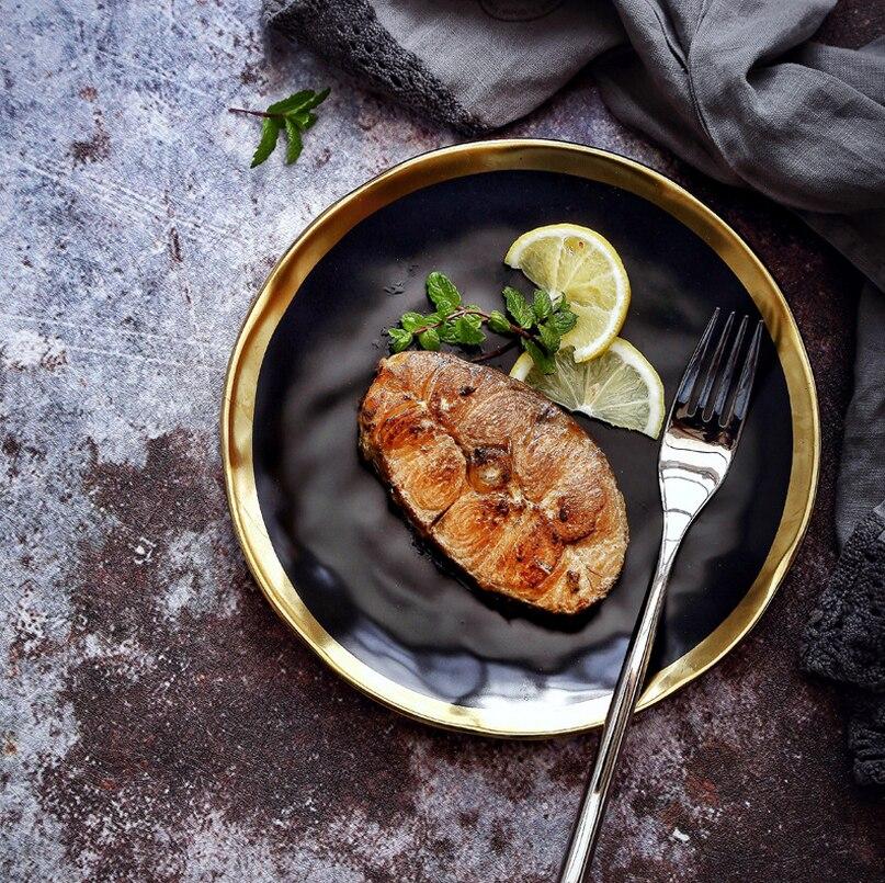 Assiette à Steak en céramique | Table à Steak en céramique, incrustation en or noir, plat rond, assiettes à gâteau au beurre, plats de cuisine pour la maison, accessoires de table de 10 pouces 4 pièces