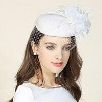 2017 Royal Party Ladies Ivory Flower Wool Pillbox Stewardess Hat Autumn Winter Wedding Church Mesh Fedora