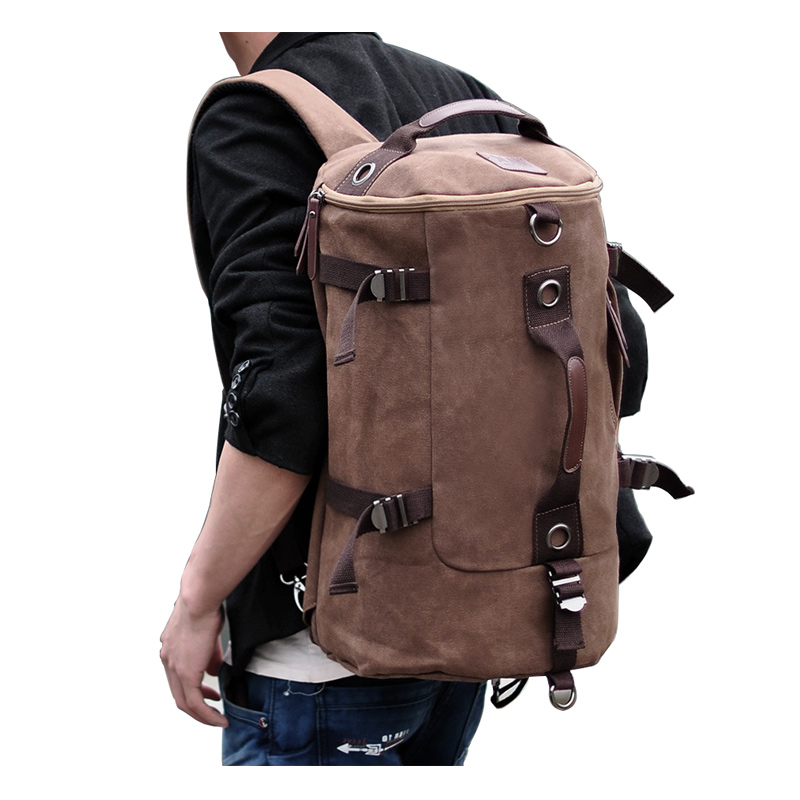 Large Capacity Canvas Round Bucket Backpack Male Mountaineering Hiking Rucksack Travel Army Shoulder Bags Gym Bag Fitness XA23WD ...