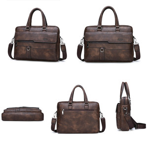 BULUOJEEP كبيرة العلامة التجارية رجل حقيبة أعمال حقيبة انقسام الجلود عالية الجودة الرجال حقائب مكتبية ل 14 بوصة محمول A4 ملف Causel الذكور