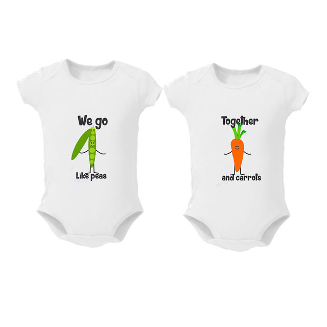 2Pcs Baby Girls boys Clothing  Bodysuit Cotton Summer Short Sleeves Sunsuit Twins Baby clothes Mac and Cheese Peanuts