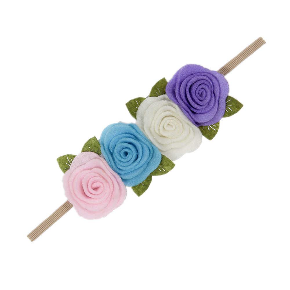 Nishine Filz Rose Blume Stirnband Kinder Mädchen blätter Blume Headwear Geburtstag Geschenk Foto Schießen Haar Zubehör