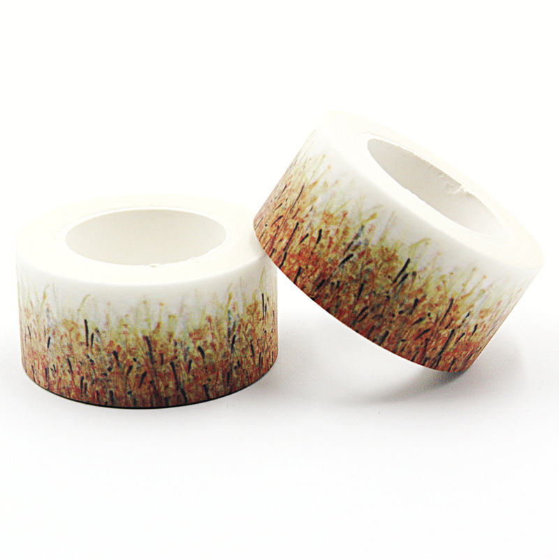 1 PCS 2cm*10m Nice Golden Wheat Washi Paper Masking Tapes DIY Floral Decorative Stickers Gift Wrapping Sticker Party Favor
