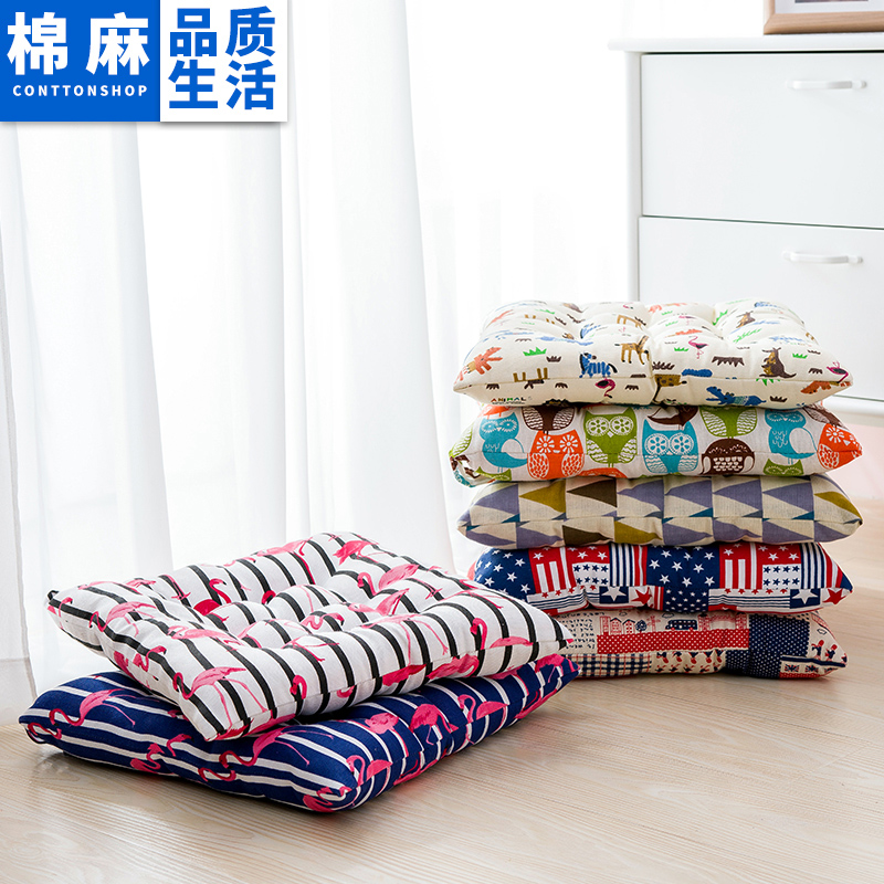 Cartoon Brown Owl Square Cotton And Linen Chair Cushion 40x40/45x45/50x50cm Office Sofa Cushion Tatami Decoration Seat Cushion