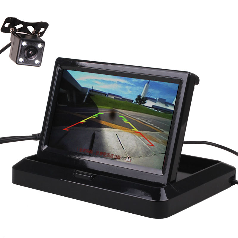 4.3 / 5 Inches HD Flip Down Foldable TFT LED Car Vehicle Rear View Parking Monitor Screen Reverse Camera Kit Combo(China)