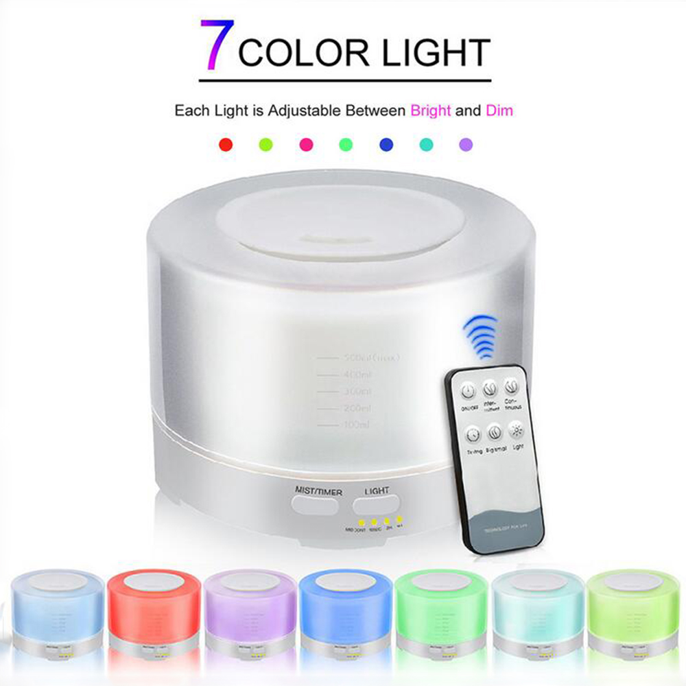 GRTCO 500ML Essential Oil Aroma Diffuser Cool Mist Ultrasonic Air Humidifiert with Remote Control 7 Colors LED Night Light