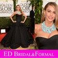 Sofia Vergara vestido de baile vestido de cetim ouro Globes Awards Red Caprpet celebridade inspirado vestido de baile
