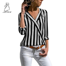 V-neck Striped loose Crossover Long-sleeved T-shirt Striped Classic Bottom T-shirts For Women Plus Size Female Top Tee