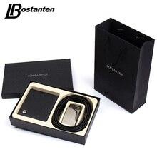 Bostanten подарок для мужчин из натуральной кожи мужские кошельки кошелек и ремни Подарочная коробка набор для мужчин