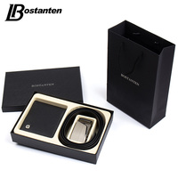 Bostanten Gift For Men Genuine Leather Men's Wallets Purse And Belts Gift Box Set For Husband