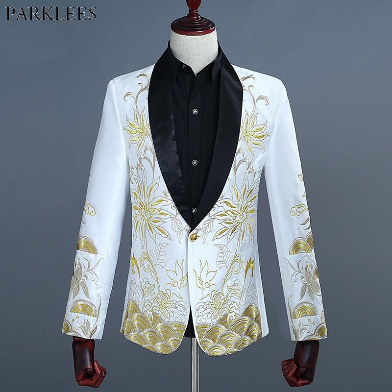 Mens Gold Embroidery White Blazer Jacket Men Wedding Groom