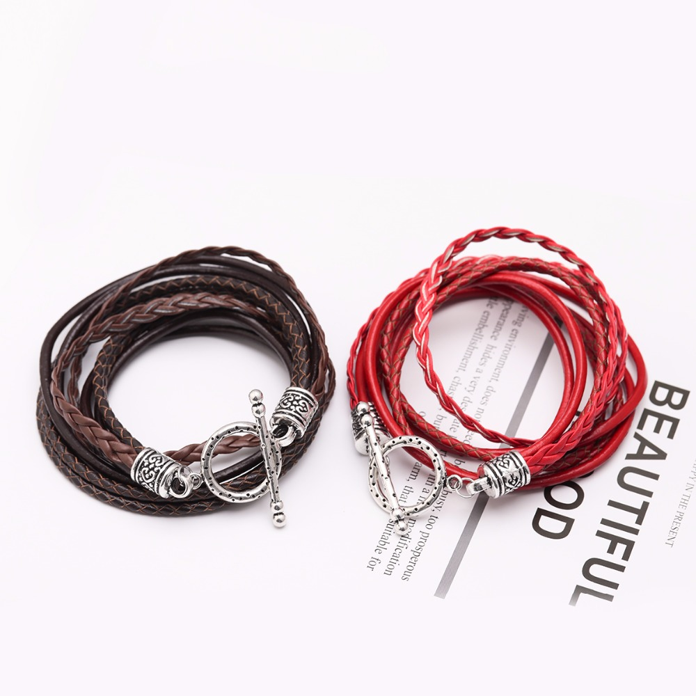 LOULEUR Multilayer Vintage OT Clasps Leather Bracelets for Women Femme Red Gray Bohemian Braided Wrap Bracelet Men Jewelry